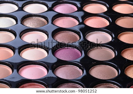 make-up palette of colorfully eye-shadows