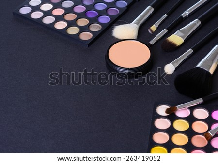 Make up pallet with brush - stock photo