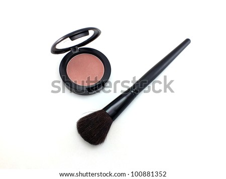 Make-up powder in box and professional brush isolated on white
