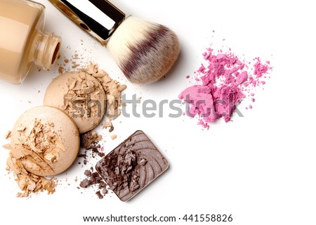 make-up products color sample isolated on white - stock photo