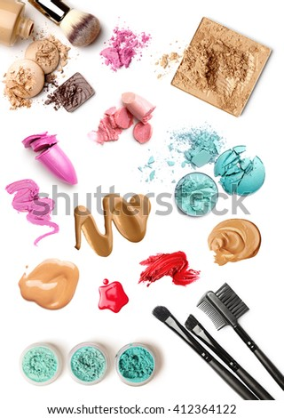 make-up products color sample isolated on white. cosmetics collection - stock photo