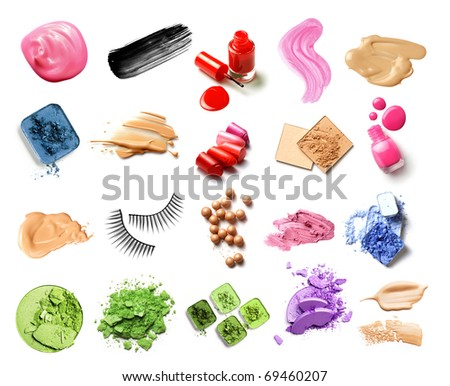 make-up products isolated on white - stock photo