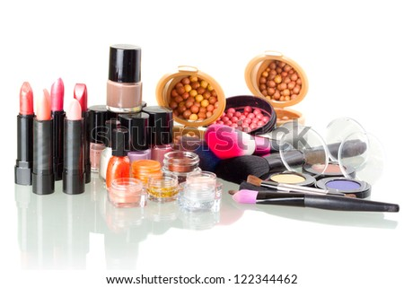 Make up set isolated on white background - stock photo