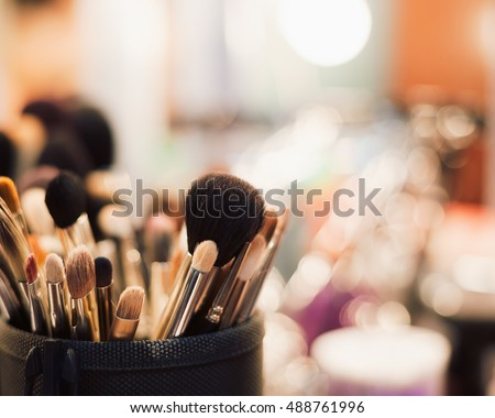 Make up table in beauty salon.Set of professional brushes for makeup. Macro, no models.