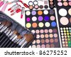 Make-up tools on white table, closeup - stock photo