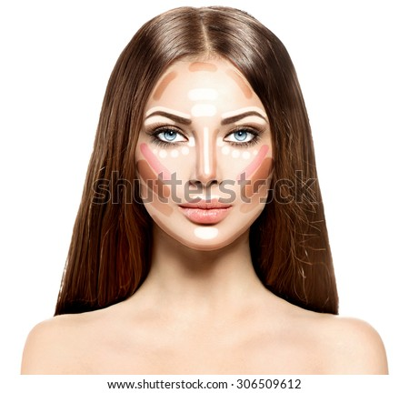Make up woman face. Contour and Highlight makeup. Professional Contouring face make-up sample - stock photo