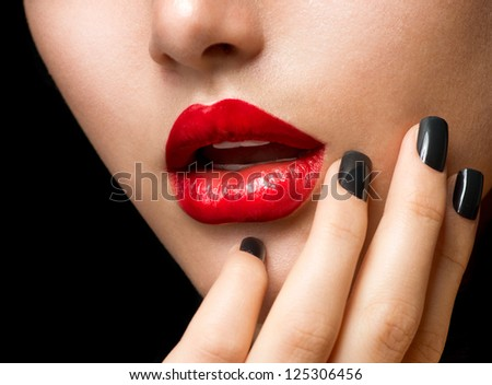 Makeup and Manicure. Black Nails and Red Lips. Sensual Mouth - stock photo