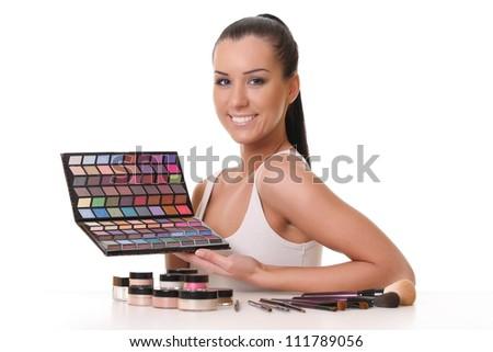 makeup artist - stock photo