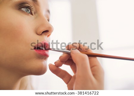 Makeup artist applies lipstick. Beautiful woman face. Perfect makeup