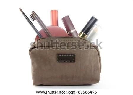 makeup bag - stock photo