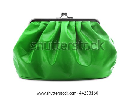 Makeup bag isolated on white - stock photo