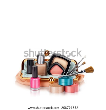 Makeup bag with cosmetics, isolated on white - stock photo