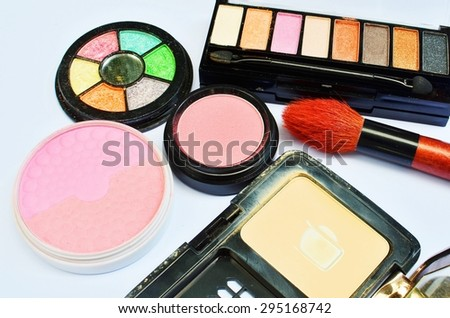 makeup brush and cosmetics background