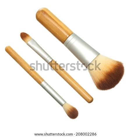 Makeup brush isolated on white background - stock photo