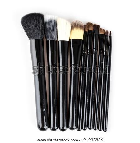 Makeup brush isolated white background - stock photo
