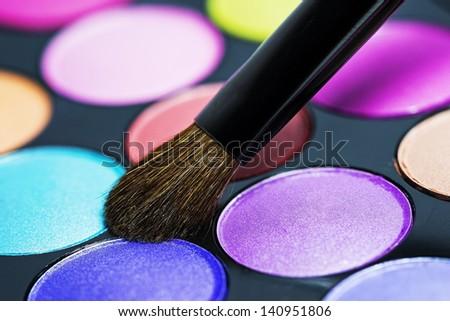 Makeup brush macro - stock photo
