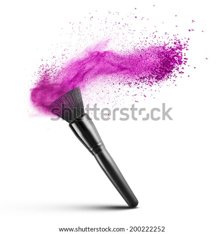 makeup brushes with powder. makeup brush with pink powder isolated on white brushes