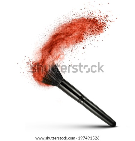 makeup brush with red powder isolated on white - stock photo