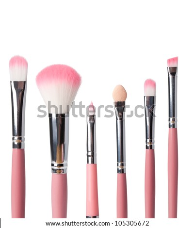 Makeup Brushes on a white background - stock photo