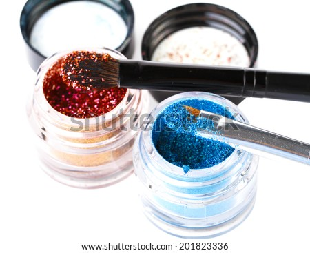 Makeup brushes powder - stock photo