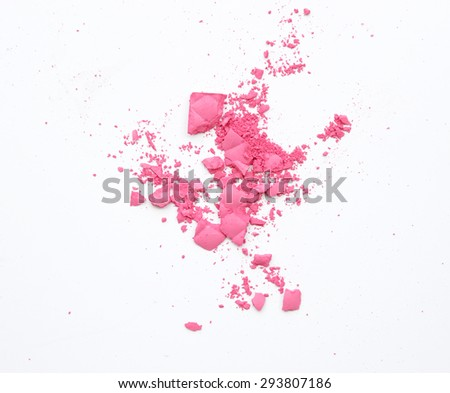 Makeup cheeks and eye. Pink Cosmetic powder on white - stock photo