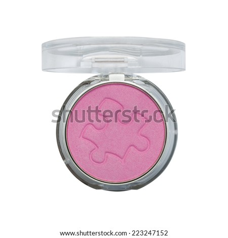 Makeup cheeks. Pink Cosmetic powder on white background. - stock photo