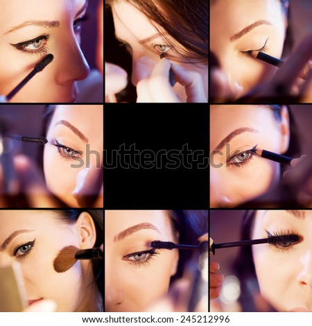 Makeup collage. Professional make-up example. - stock photo