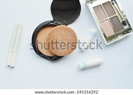 Makeup Eyeliner brush with bottle ,set of cosmetics,Make-up and brushes,powder, puff, mascara, eyeliner on white background - stock photo