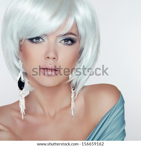 Makeup. Fashion Style Beauty Woman Portrait with White Short Hair. Jewelry.  - stock photo
