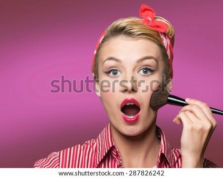 Makeup, girl, pin. - stock photo