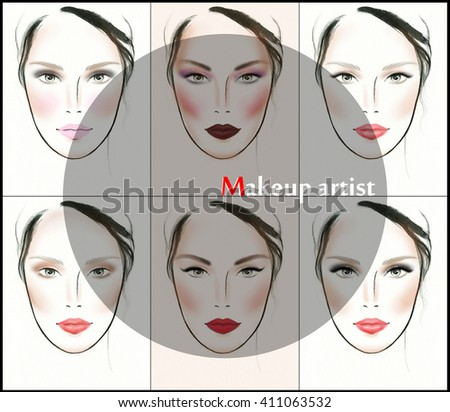 makeup ideas for image. perfect woman face. makeup artist. fashion illustration