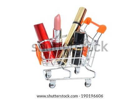 Makeup in pushcart isolated on white background - stock photo