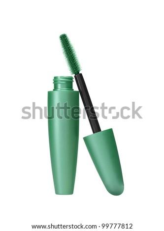 makeup inks brush isolated on white background - stock photo