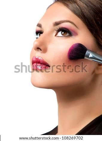 Makeup. Make-up Applying.Rouge.Blusher - stock photo
