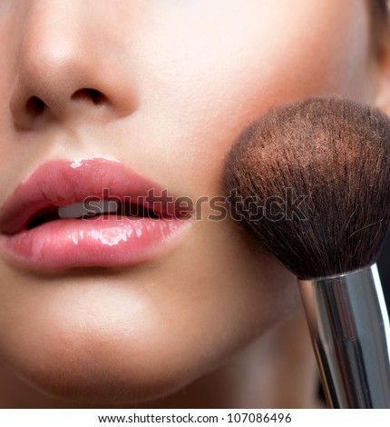 Makeup. Make-up closeup. Cosmetic Powder Brush.Perfect Skin - stock photo