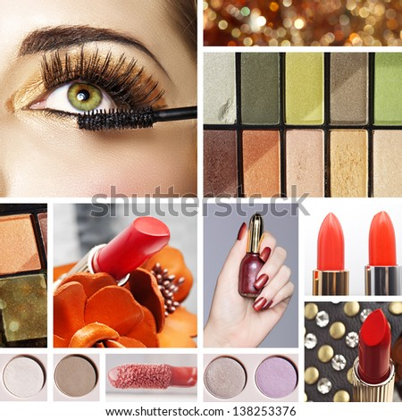 Makeup mood board collage with warm gold eyeshadow and orange red lipsticks including closeup of womans eye with false eyelashes - stock photo