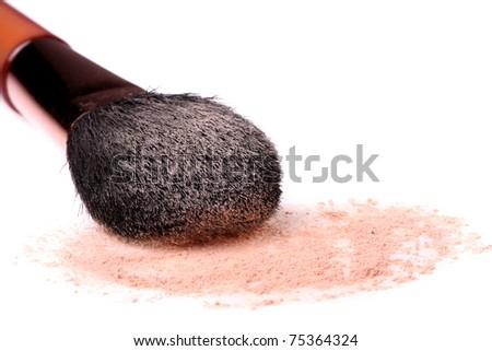 Makeup powder and brush isolated on white background - stock photo