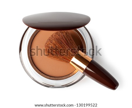 Makeup Powder and Brush on a white background - stock photo