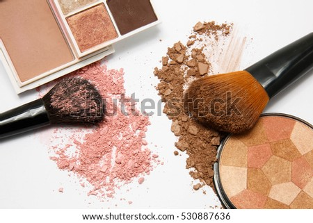 makeup powder on white background
