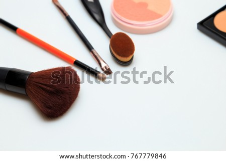 Makeup products white background