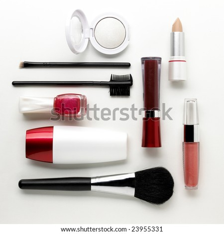 Makeup set isolated on a white background