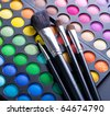 Makeup set.Professional multicolor eyeshadow palette - stock photo