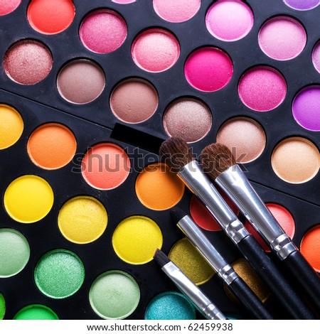 Makeup set.Professional multicolor eyeshadow palette - stock photo