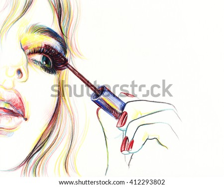 makeup . woman face. makeup artist. fashion illustration - stock photo