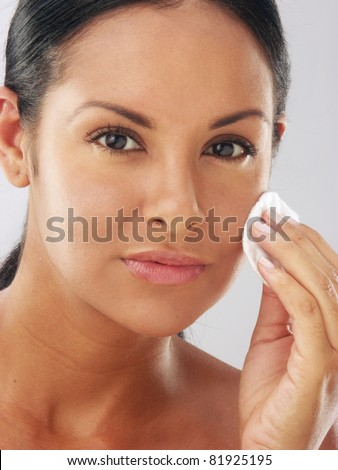 Makeup young beautiful woman after bath - spa cleaning her face - stock photo