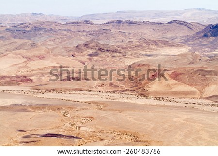 Makhtesh Ramon, unique crater in Israel, a top view - stock photo