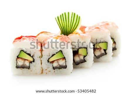 Maki Sushi - Roll made of Smoked Eel, Avocado and Cream Cheese inside. Crab Meat outside - stock photo