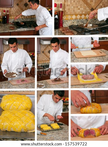 Making beef wellington collage - stock photo