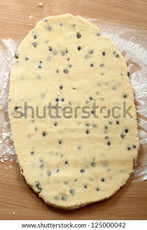 Making Chocolate Chip Cookies. Series. Dough sheet ready for cutting. - stock photo