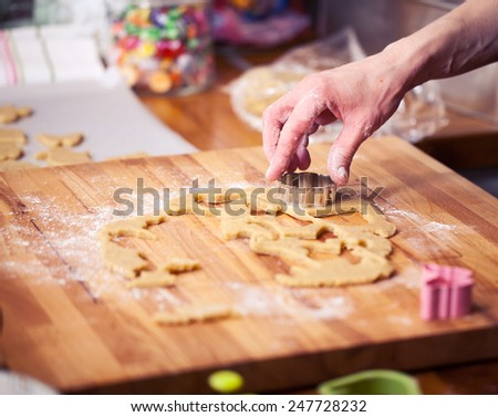 Making cookies. Shallow depth of field. - stock photo
